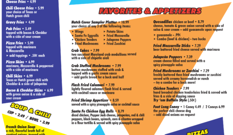 Hatch Cover Bar and Grill Menu Page 1